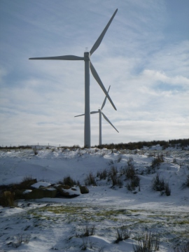 Wind turbines in the snow