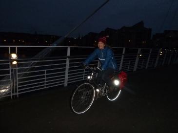 Sue crossing the Millennium Bridge