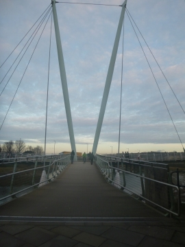 Dusk falls over the bridge