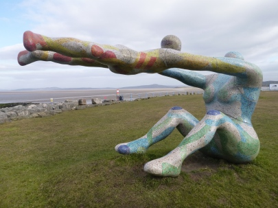 Woman and child on Morecambe Bay