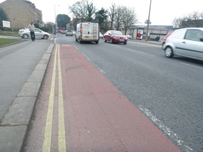 The cycle lane ends